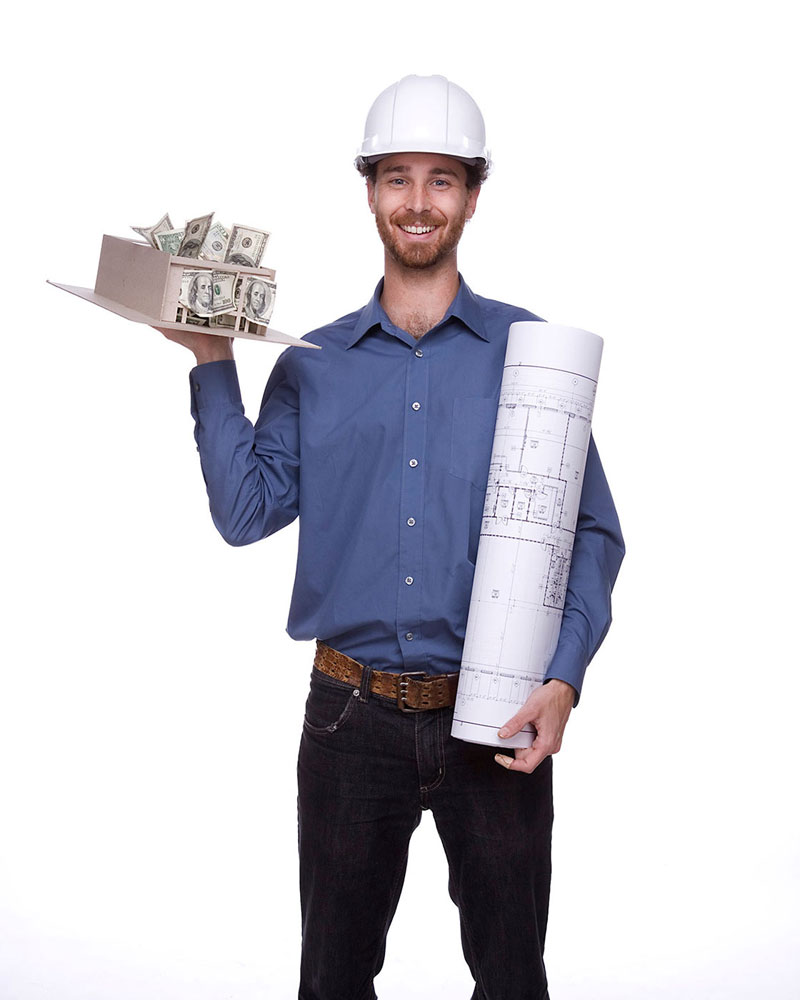 man with building plans